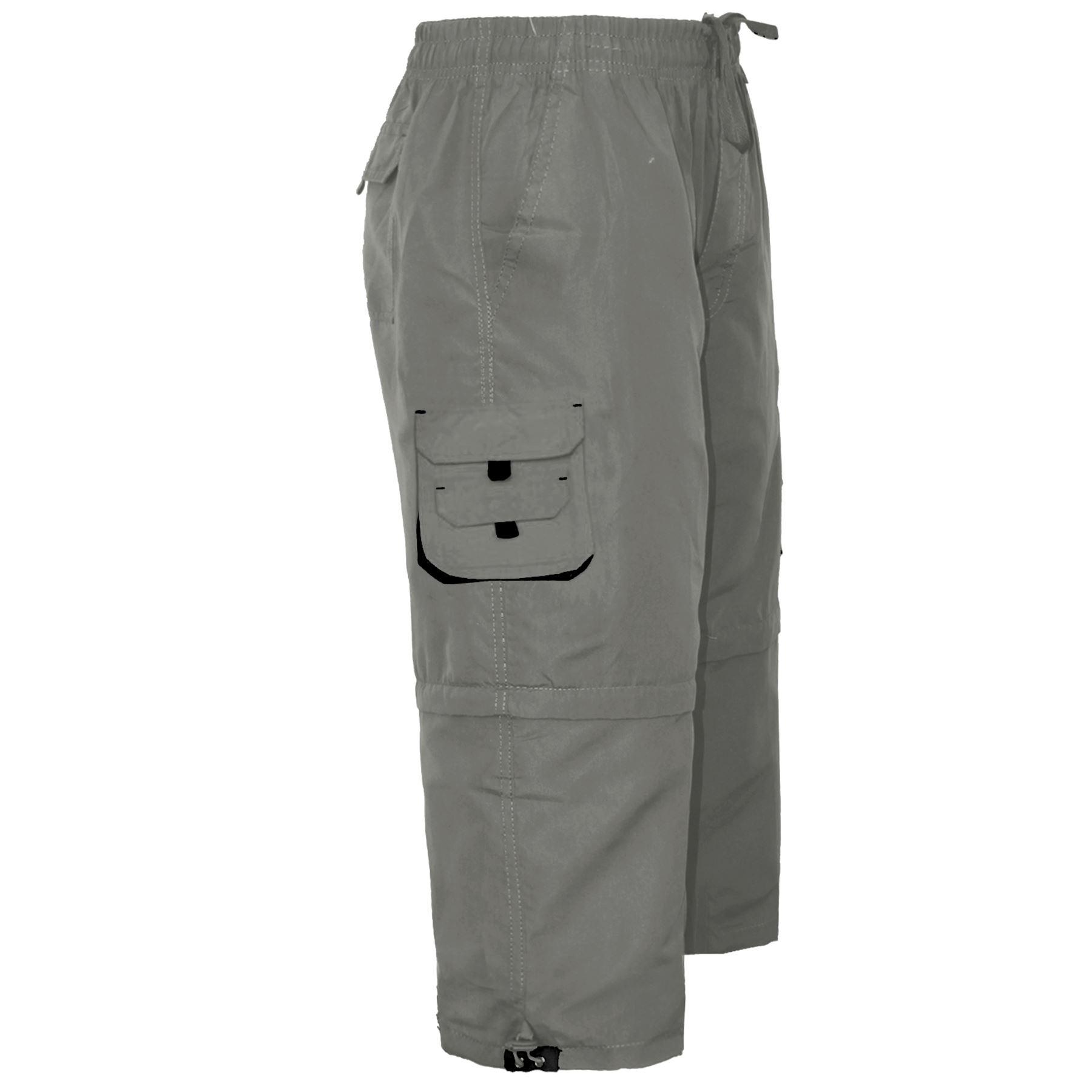 Da Uomo 2in1 Zip Off estivo al ginocchio lungo elastico in vita Cargo Combat Pantaloncini