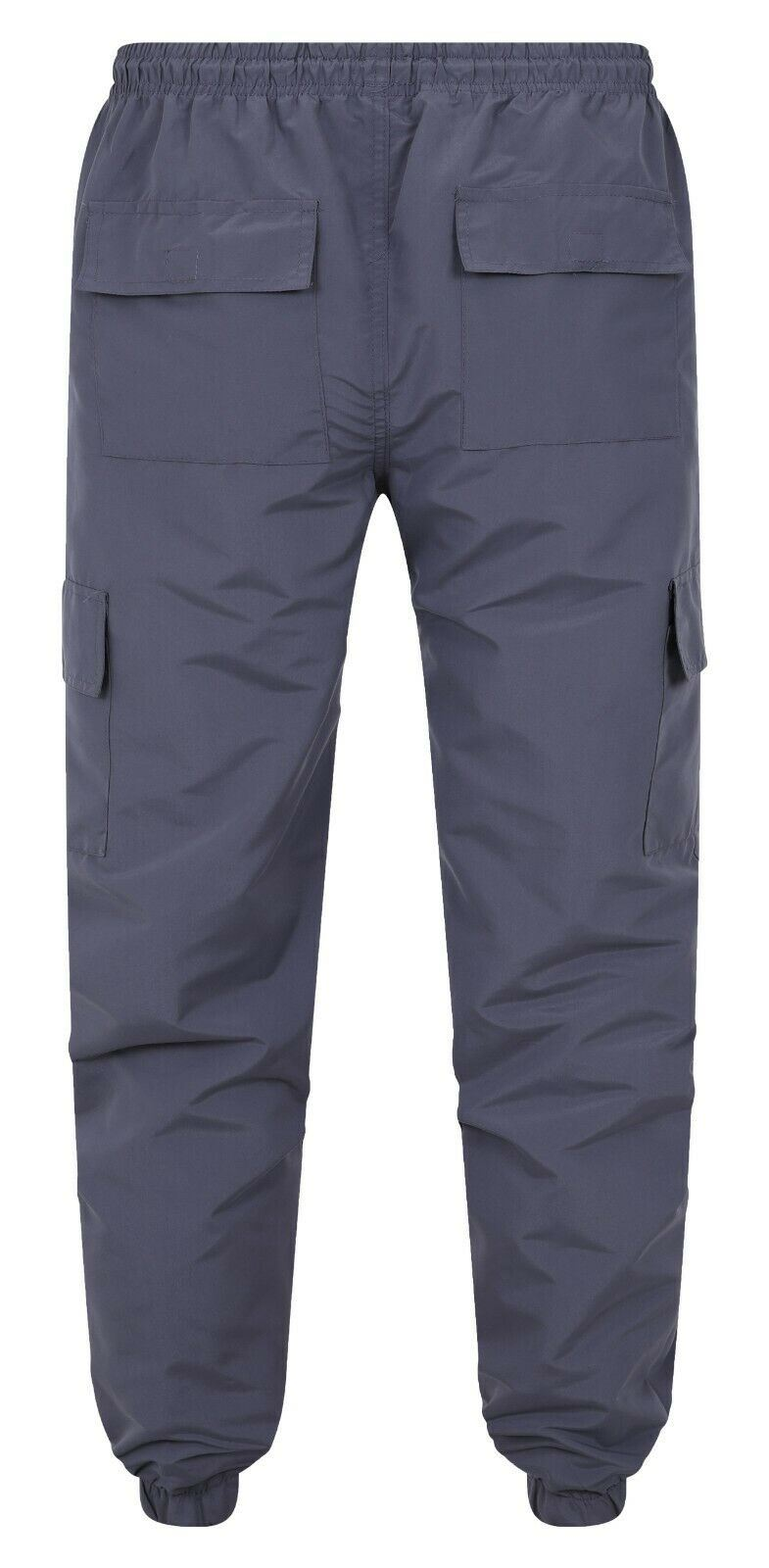 Mens Cargo Combat Trousers Elasticated Waist Bottoms Pants Zip Pocket All Waist