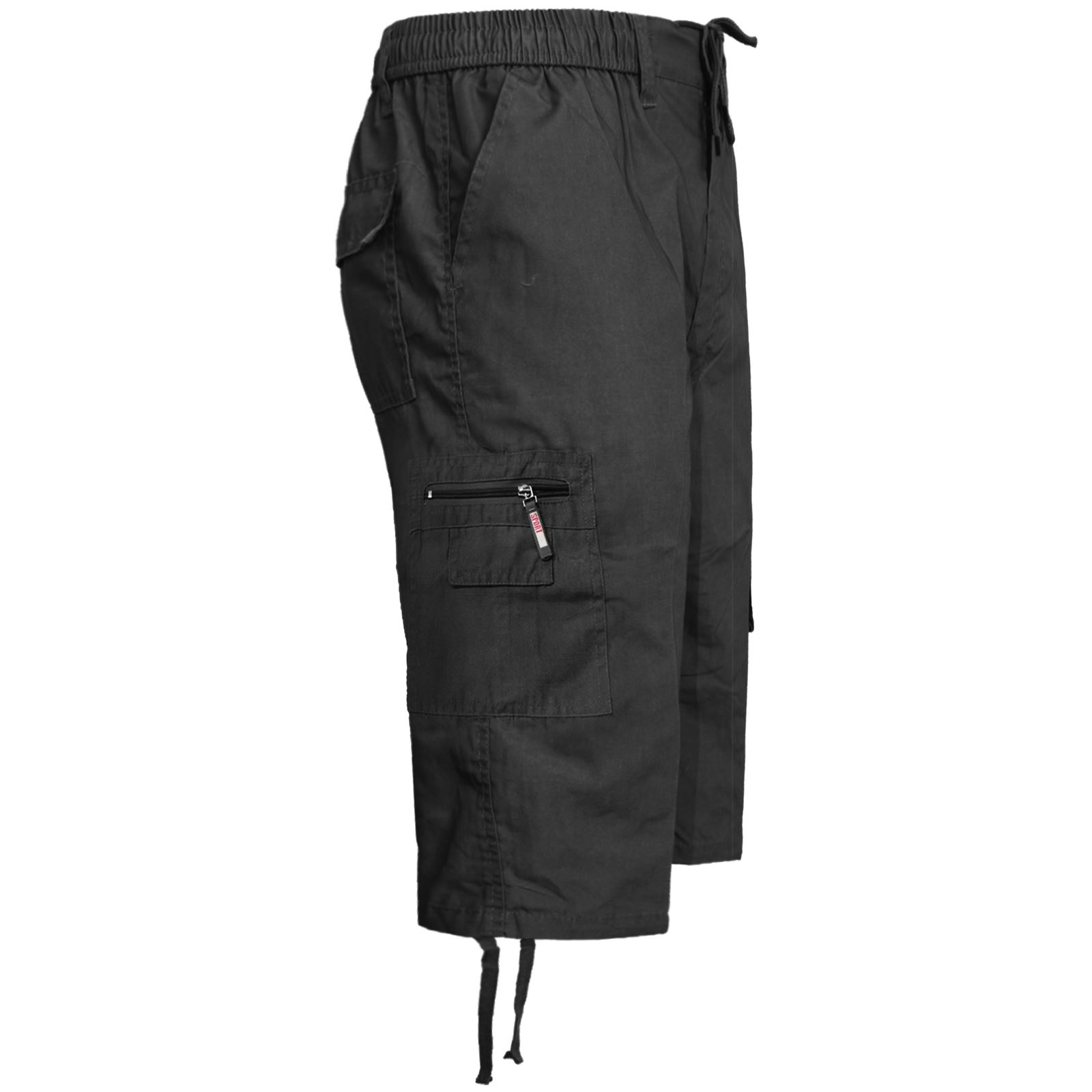 New Mens 3//4 Long Elasticated Shorts Cargo Combat Multi Pocket Summer Gym Pants