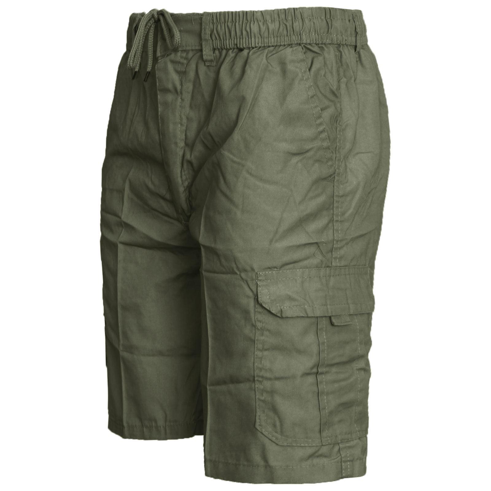 Da Uomo Elastico In Vita Cargo Combat Pantaloncini Tinta Unita Work Wear Pantaloncini cotone tasche