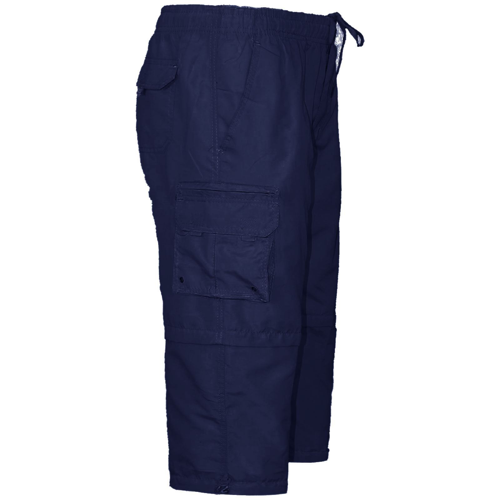 MENS 2 IN 1 ZIP OFF ELASTICATED SHORTS COTTON CARGO COMBAT SUMMER HOLIDAY PANTS
