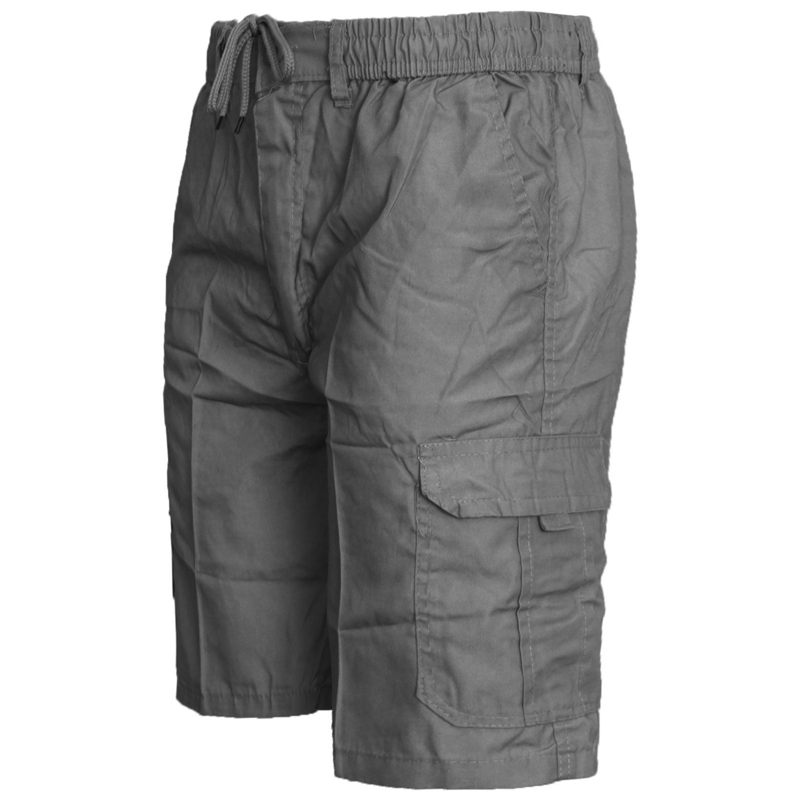 New Mens Cargo Shorts Combat Pockets Plain Summer Elasticated Waist Pants M-3XL