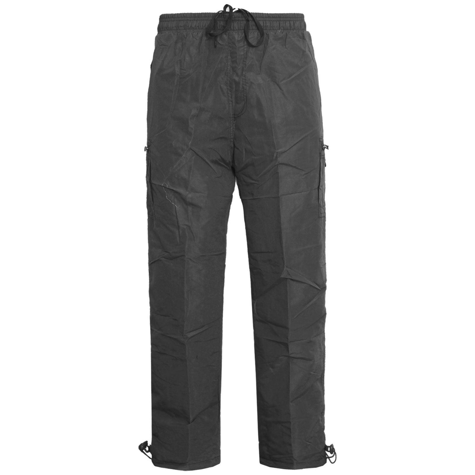 Mens Elasticated Fleece Lined Thermal Walking Cargo Combat Winter Warm Trousers