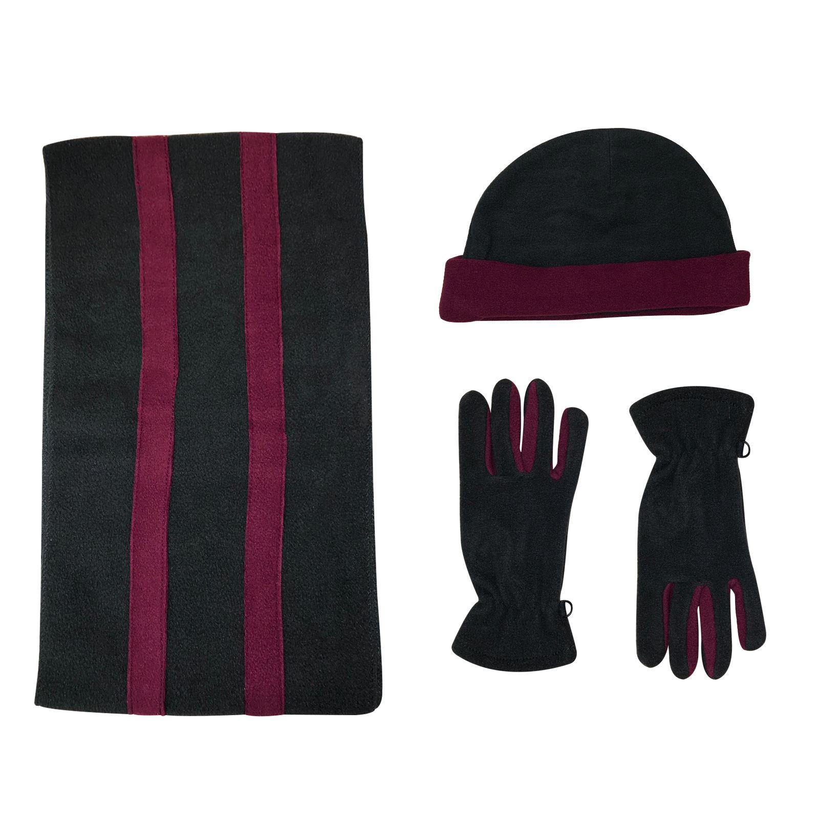 New Ladies Micro Fleece 3 Pc Beanie Hat Scarf Gloves Women Girl Set Winter Gift