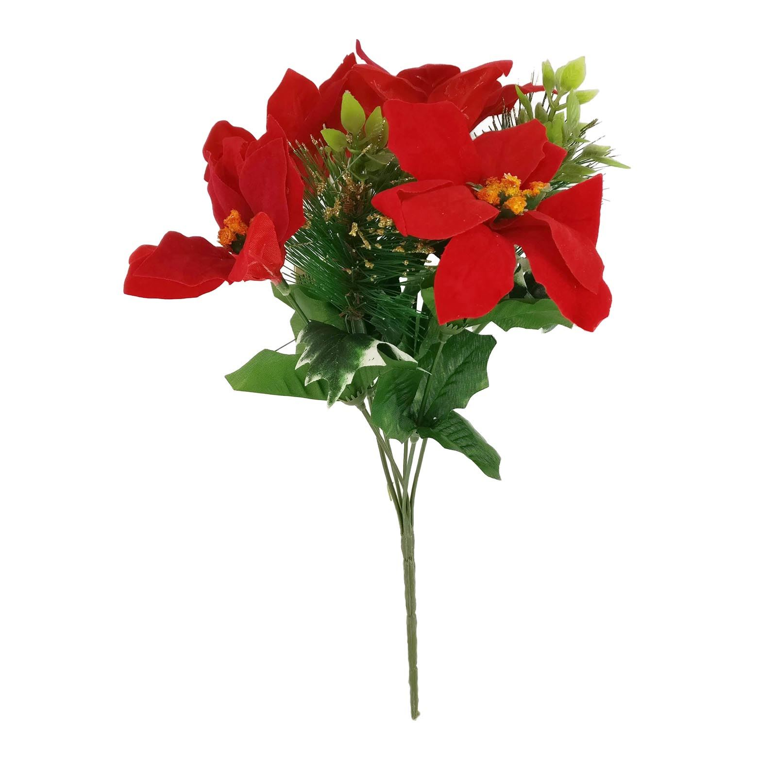 Xmas Poinsettia Pine Flowers Festive Posy Bouquet Candle Ring
