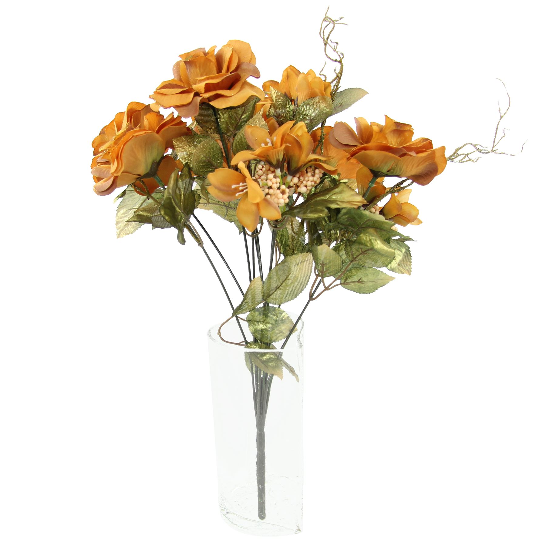 Artificial Silk Flowers Bundle Bunch Rose and Alstroemeria Glitter Bouquet