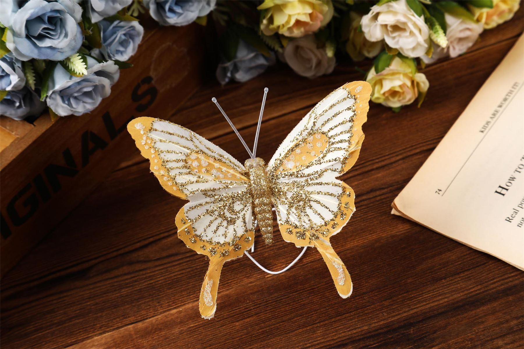 Scatola di 12 grandi garza farfalle-Matrimonio Glitter Albero di clip