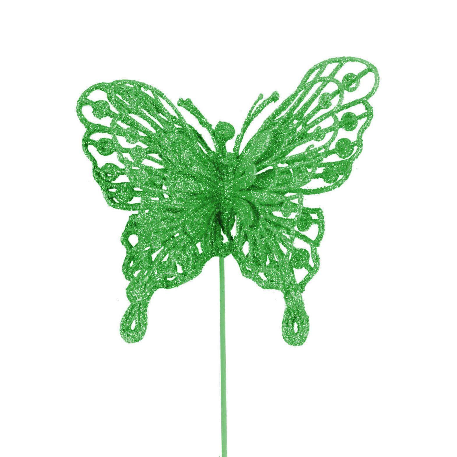 Heavy Glittered Large Double Layer Florist Butterflies Picks Artificial Glittery
