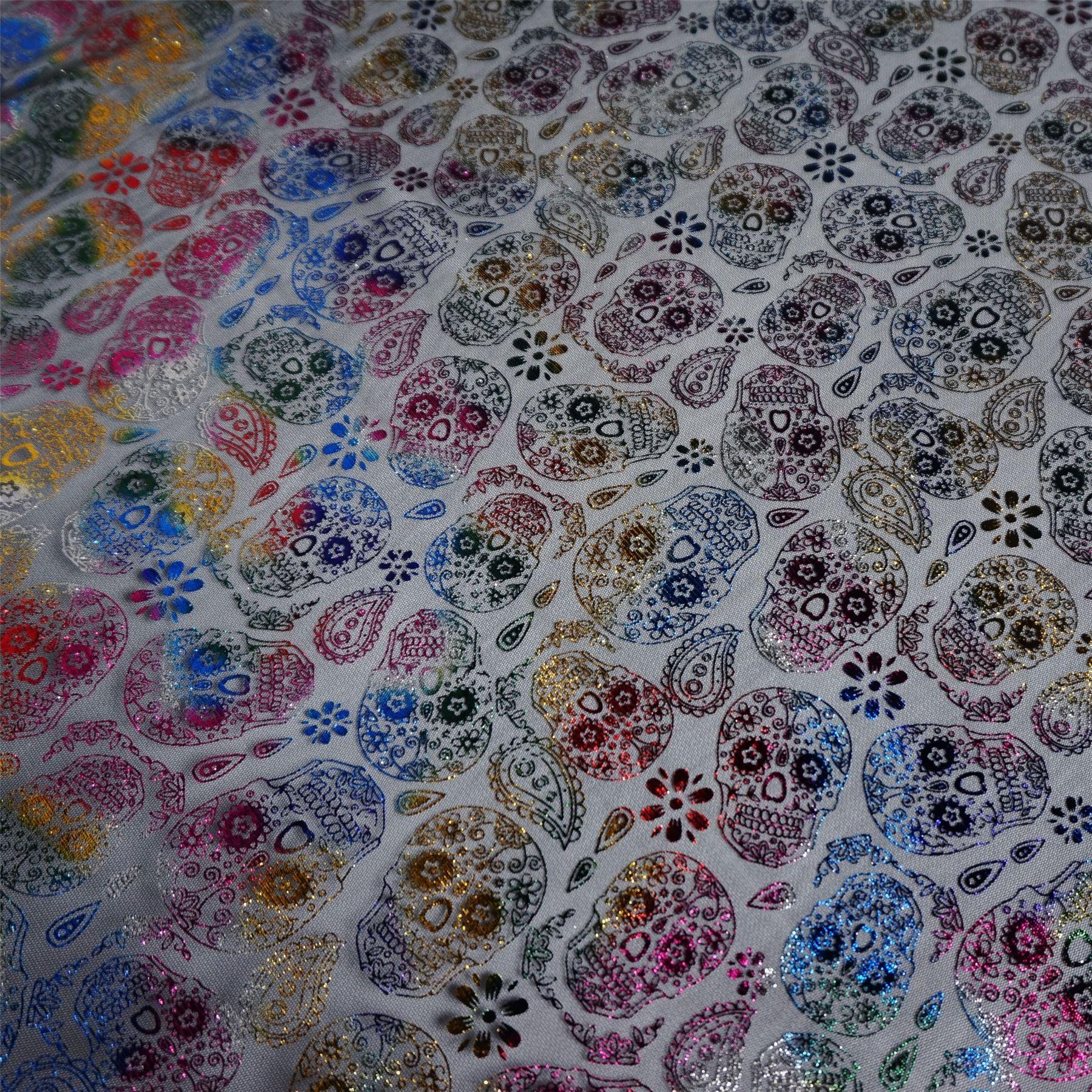 Per Metre Tulle Net Fabric with Multi-coloured Foil Sugar Skulls 2 Colourways