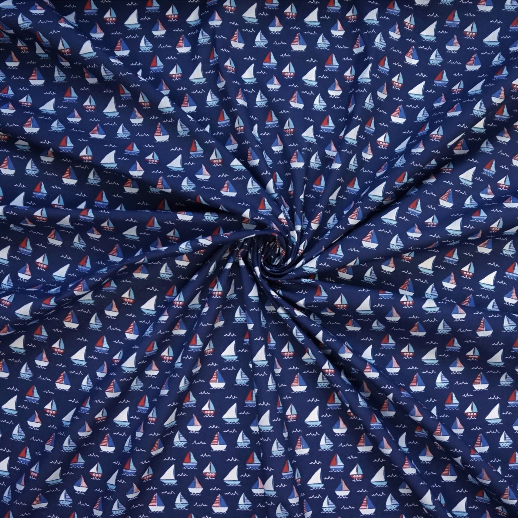 Per Metre 2 Cols Blue Polycotton Fabric with Nautical Sailing Boats /& Waves
