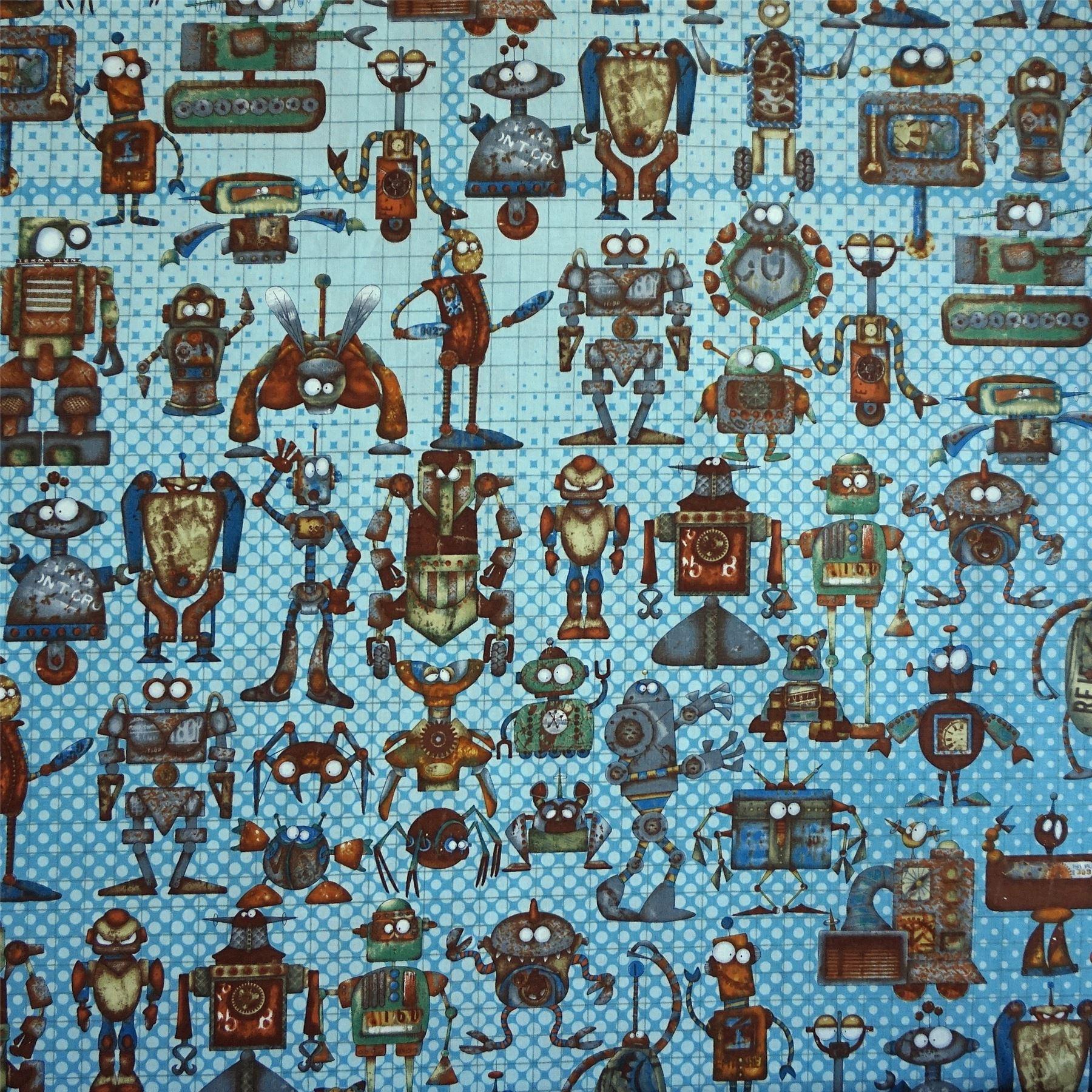 par mètre Motif grille 100/% tissu de coton avec Rusty robots Imprimé 2 cols