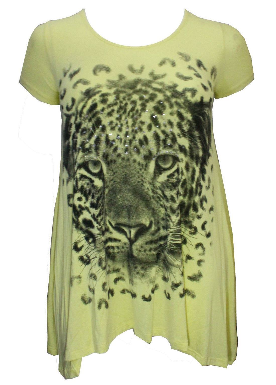 Haut femme à manches courtes Tiger face impression inégale ourlet Haut Femmes Taille Plus Parti Top