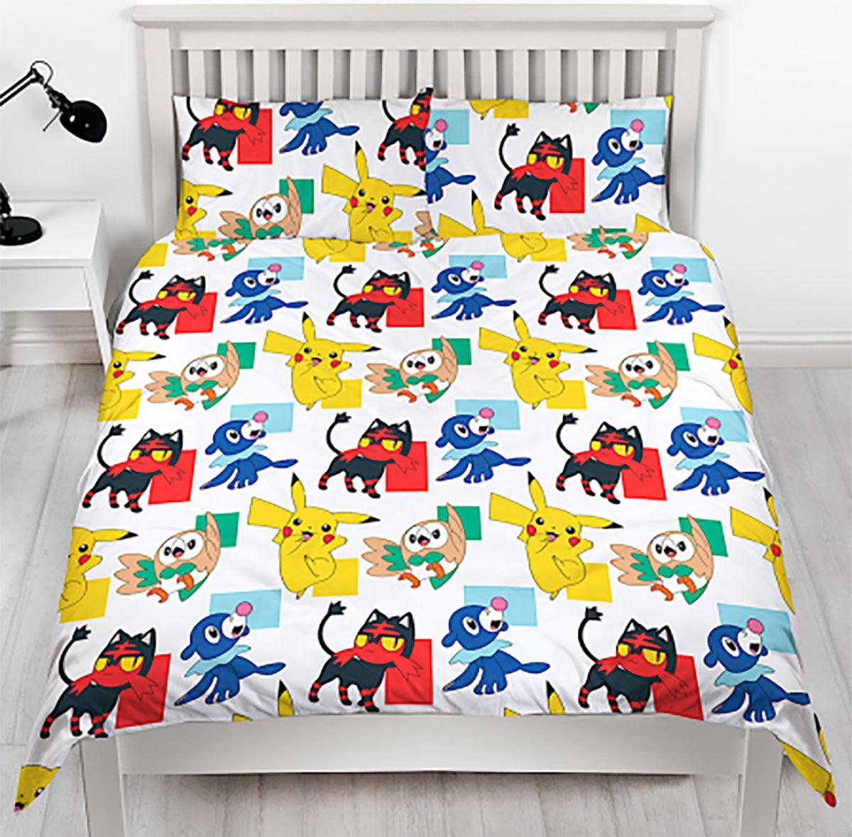 Pokemon Newbies Double Duvet Pillow Case Set Childs Reversible Bedding Cover Set