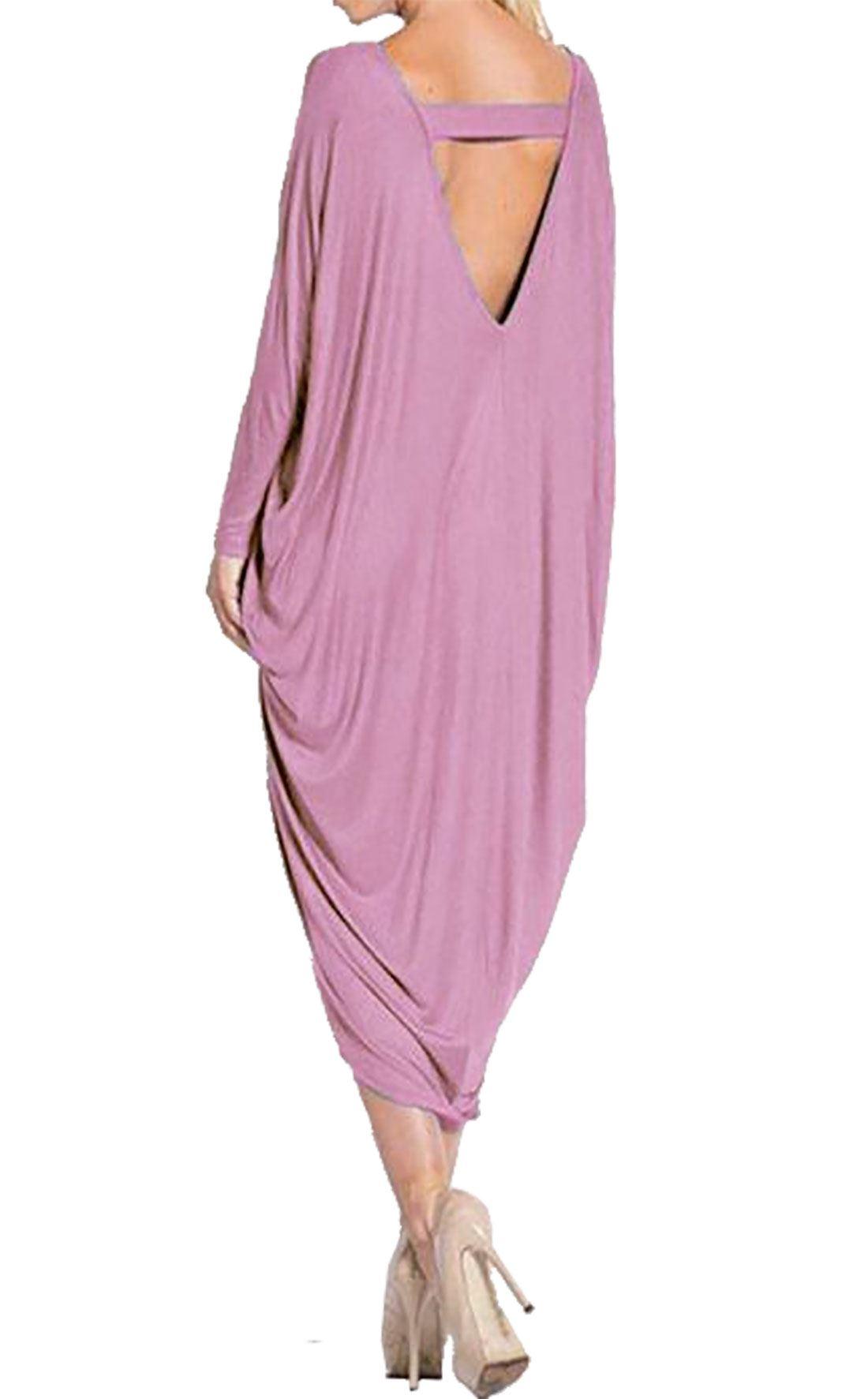 Womens Long Sleeve Backless Dress Ladies Cocktail Club Wear Baggy Midi Dress