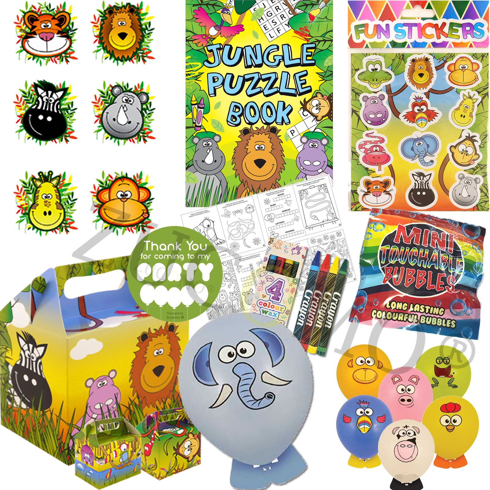 Ready Made Parcels Box Boys Girls Jungle Pre Filled Childrens Kids Party Bags