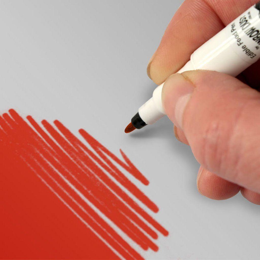 Rainbow Dust Edible Cake Icing Food Art Pens 2 Nibs Black Red