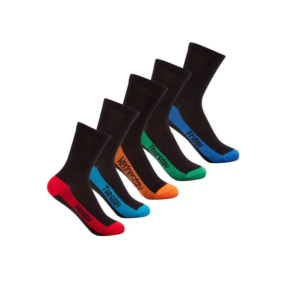 Childrens Boys School Socks Days of the Week Weekday Novelty