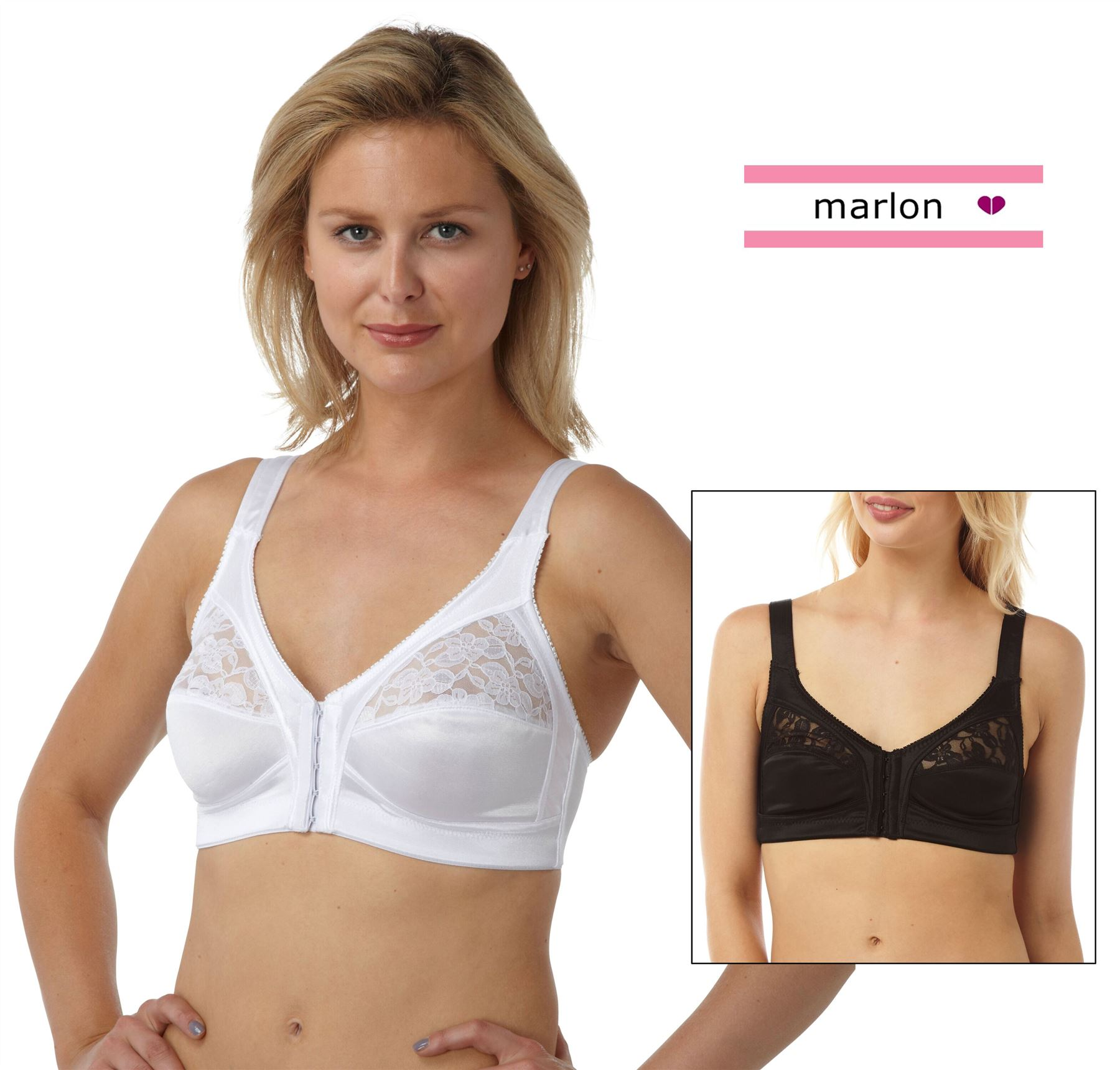 Women/'s Front Fastening Soft Cup Non Wired Bra Size 34-48 Cup B-E Black White