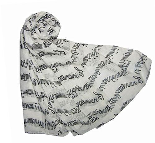 Music Print Scarf Musical Notes Classical Mozart Style Wrap Scarves