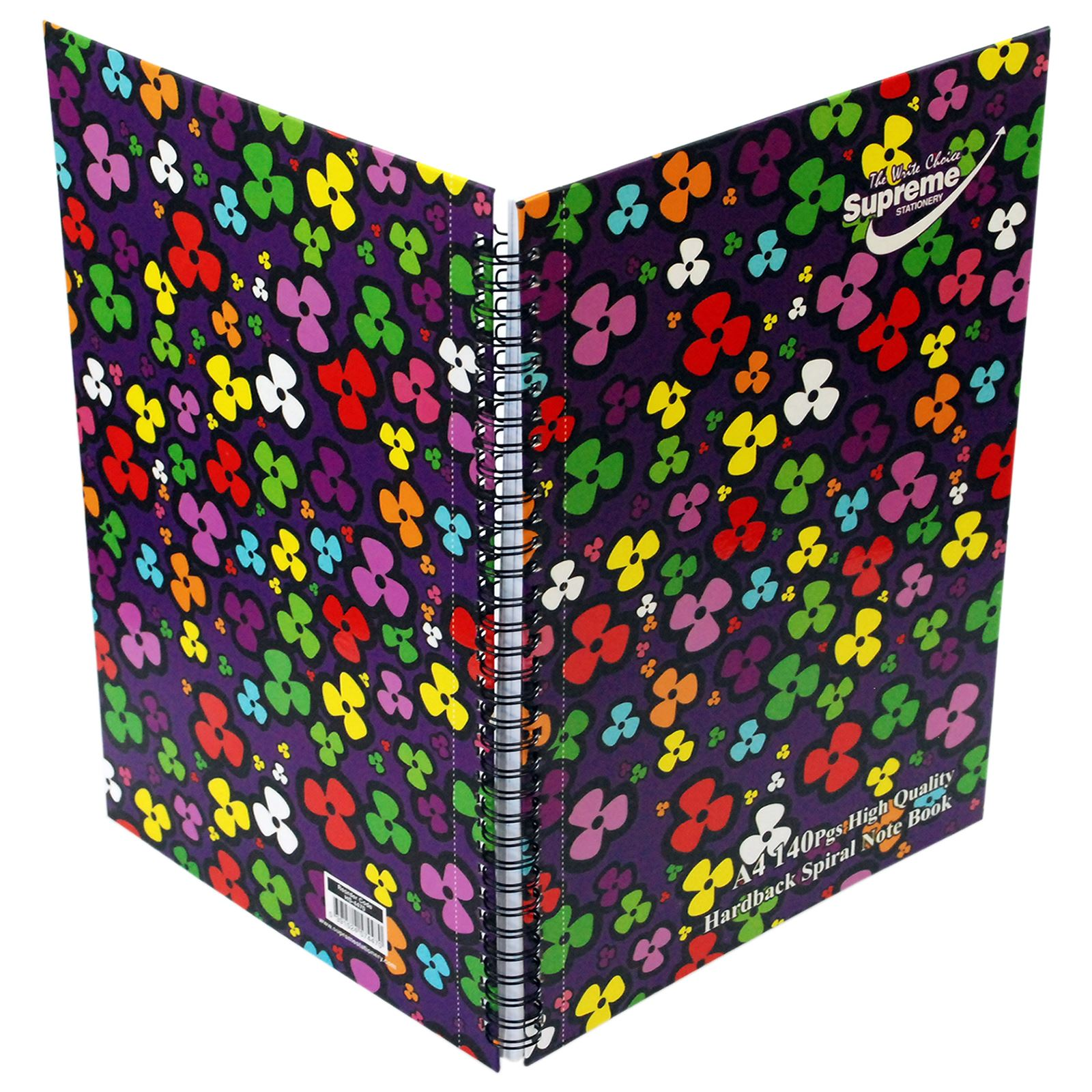 A4 Supreme Hardback Spiral 140 Page Notebook Note Pad School Office Flower