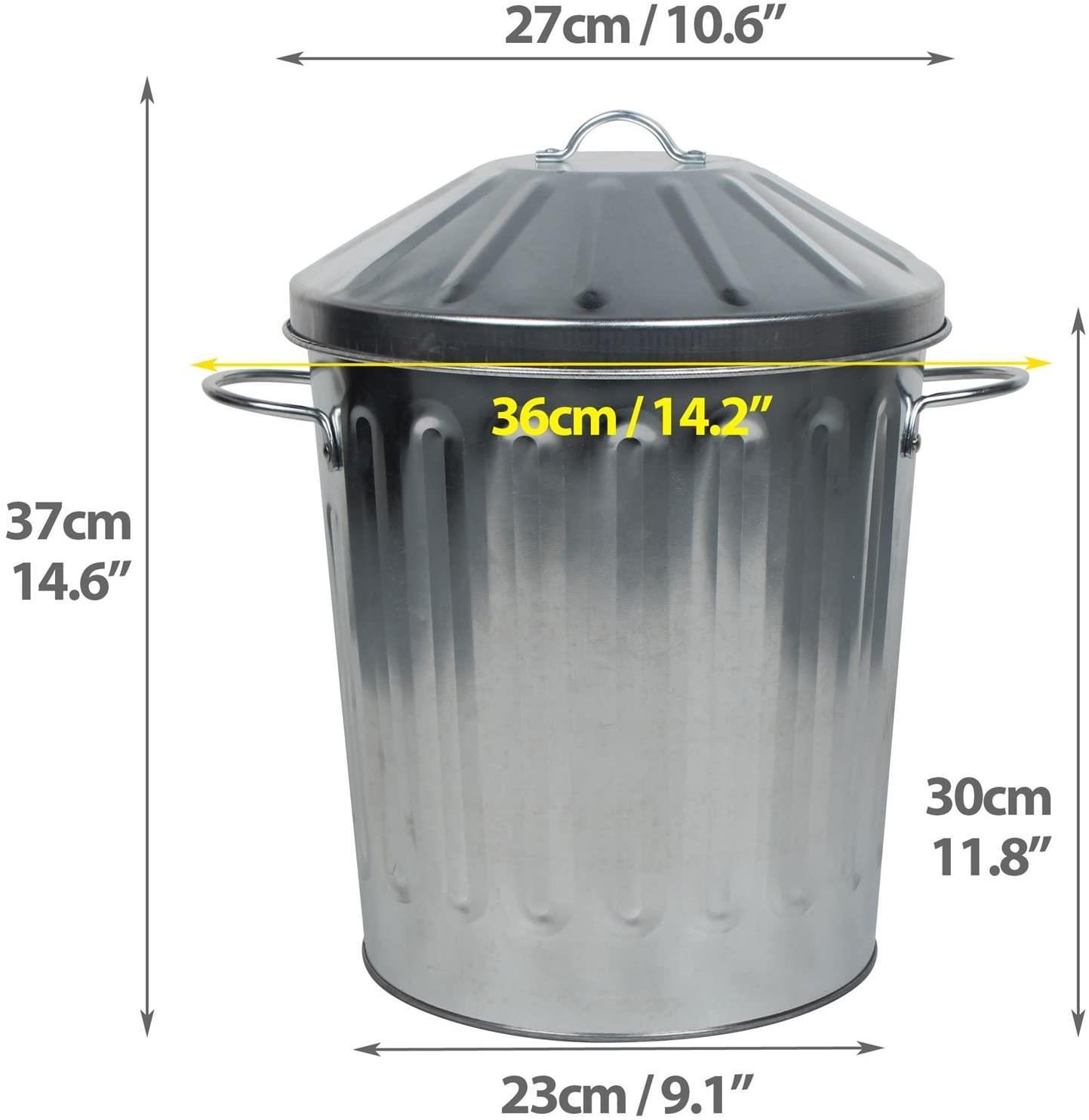 Choose from 15L 18L 60L 40L 90L or 125L. Galvanised Metal Bin with Lids