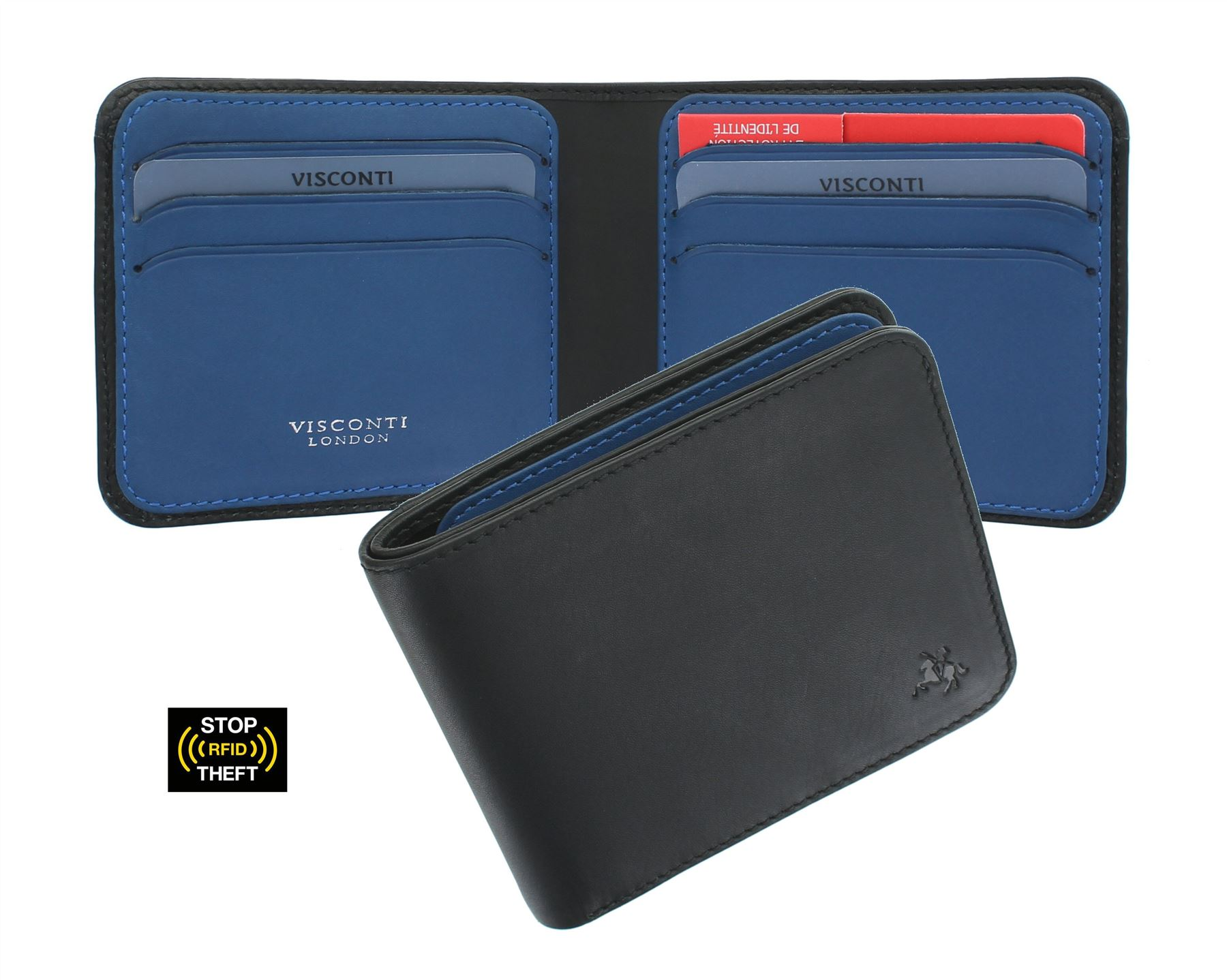 Visconti Slim Collection Trim Leather Wallet with RFID and Tap and Go VSL35