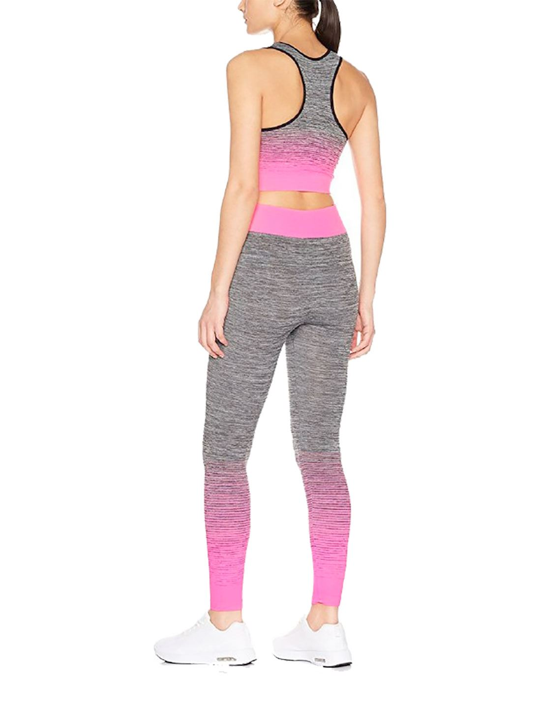 Ladies 2 Piece Sports Gym Wear Set Womens Exercise Yoga Crop Top And Leggings
