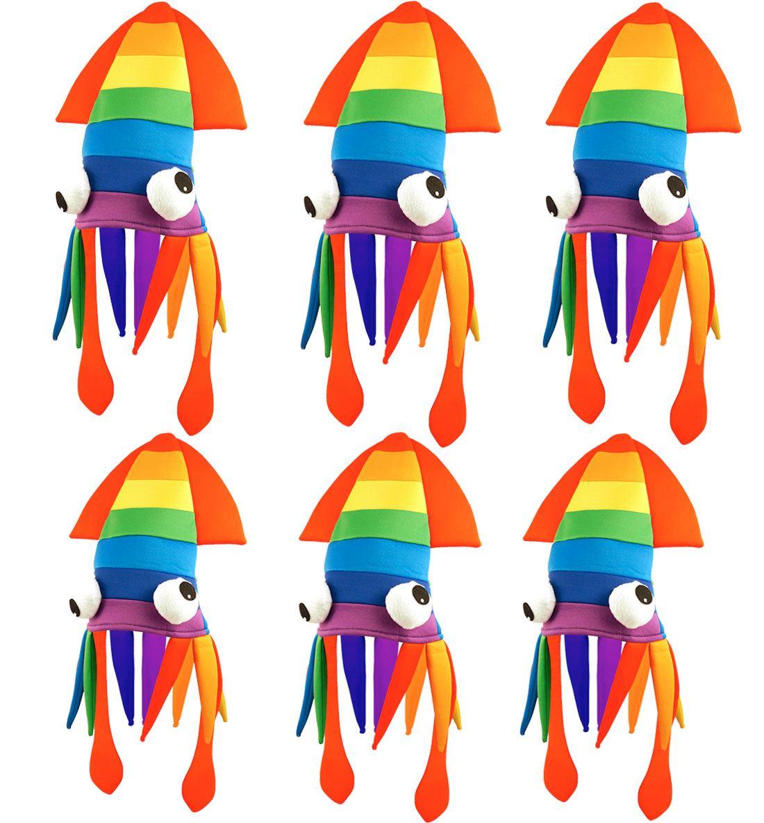 Gay Pride Carnival Rainbow Squid Hat Unisex Parade Multi Fancy Dress Hat Lot
