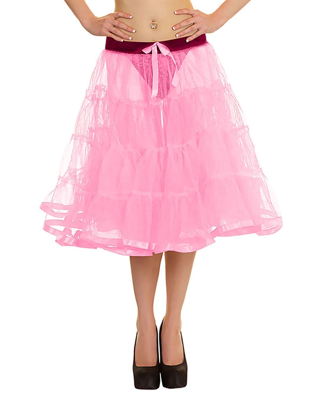 Womens 4 Tier Petticoat With Ribbon Tutu Skirt Ladies Dance Wear Fancy Skirt