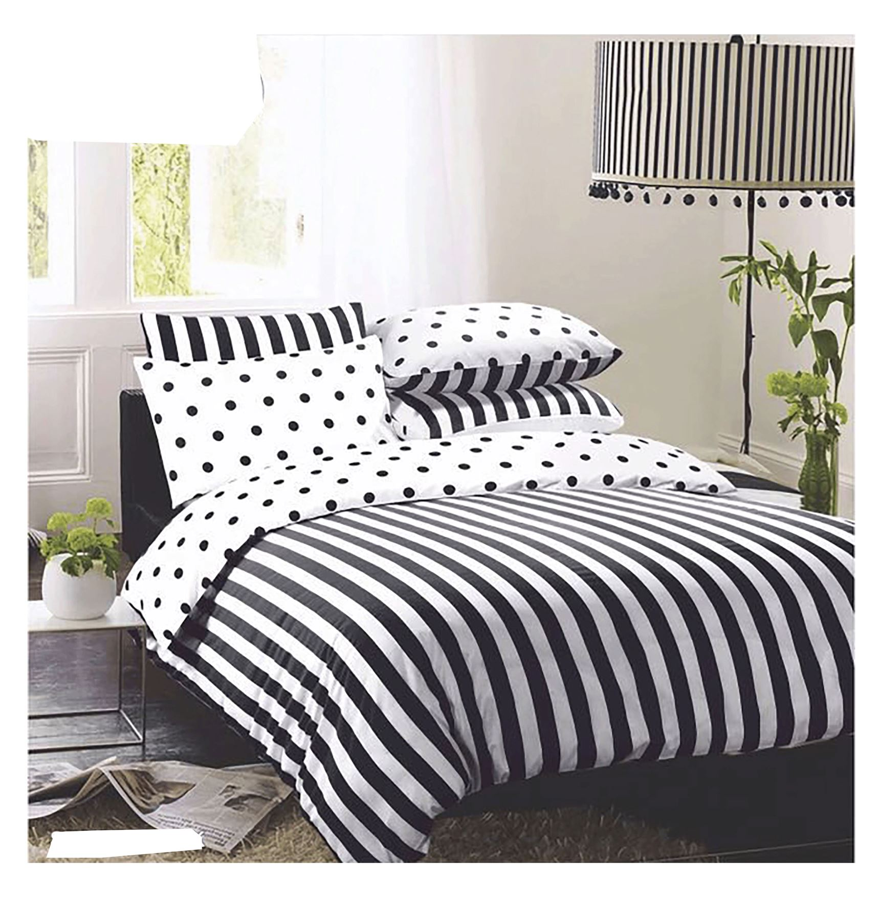 New Reversible Stripy And Spotty Duvet Quilt Cover With Pillow Case Bedding Set