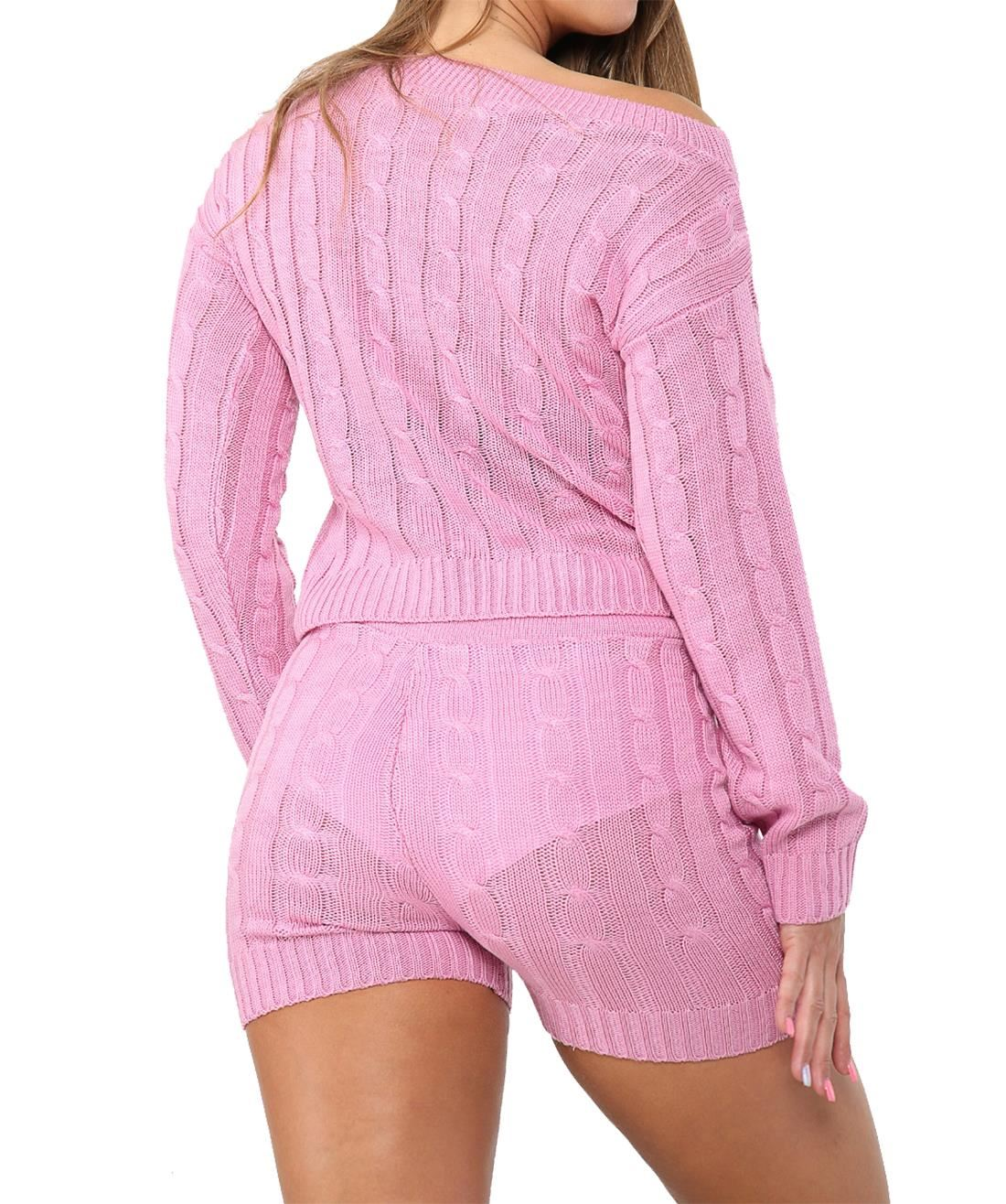 Details about  /Ladies 2Pcs Knitted Loungewear Womens Casual Wear Jumper and Shorts Co-Ord Set