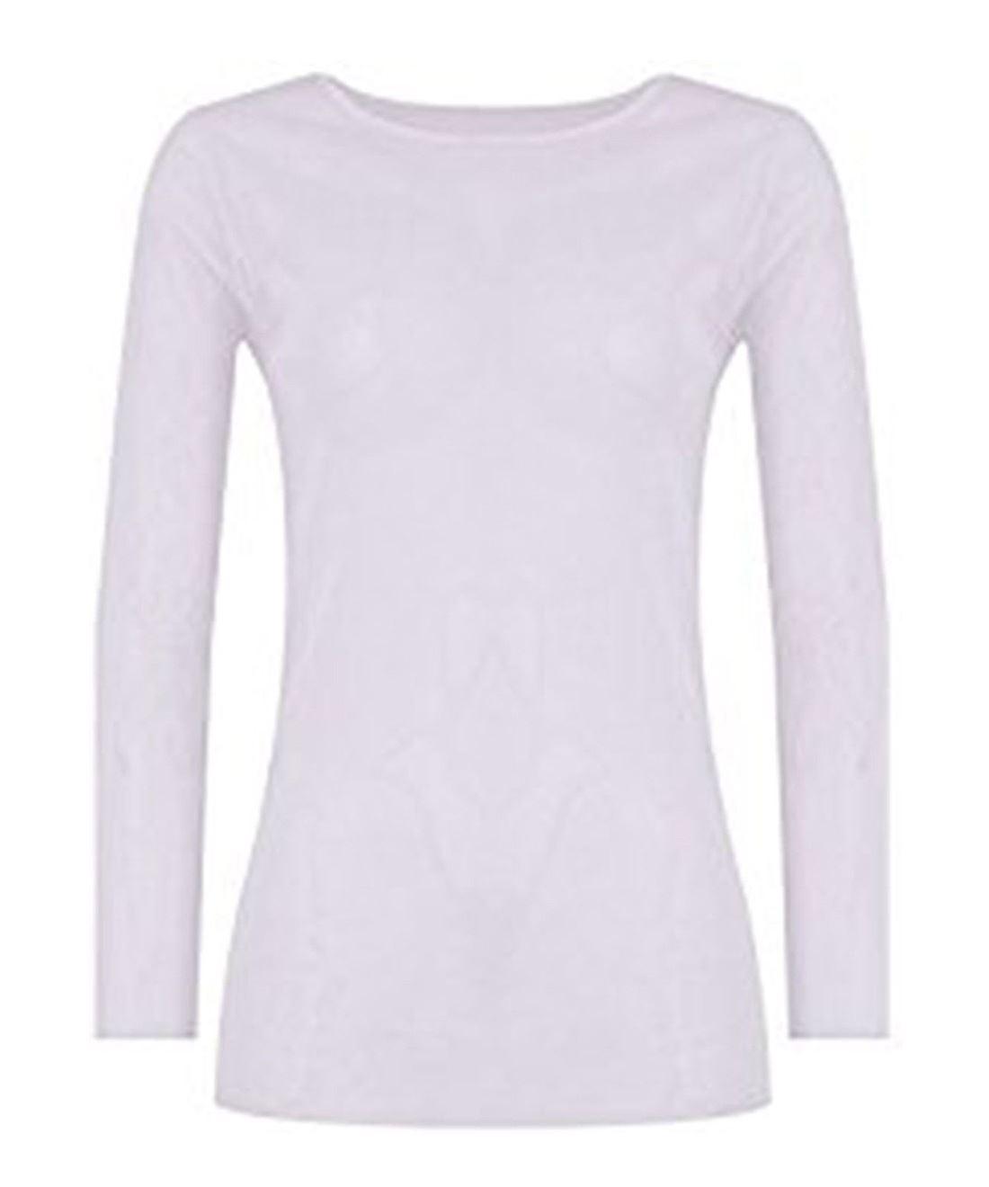 Femme à manches longues Sheer Mesh See Through Plain Top T Shirt Taille 8-22