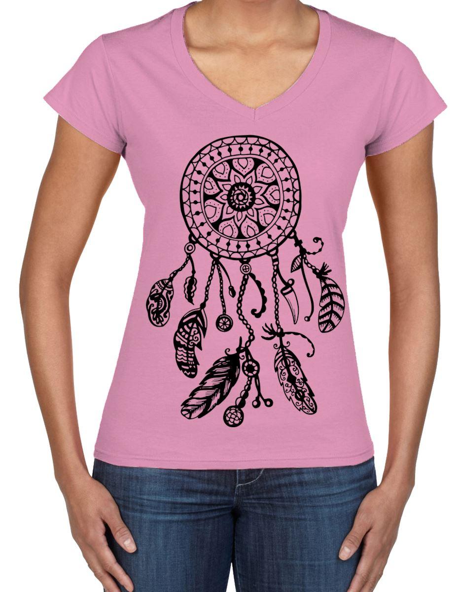 Dreamcatcher Native American Hipster Large Print V Neck Women/'s T-Shirt
