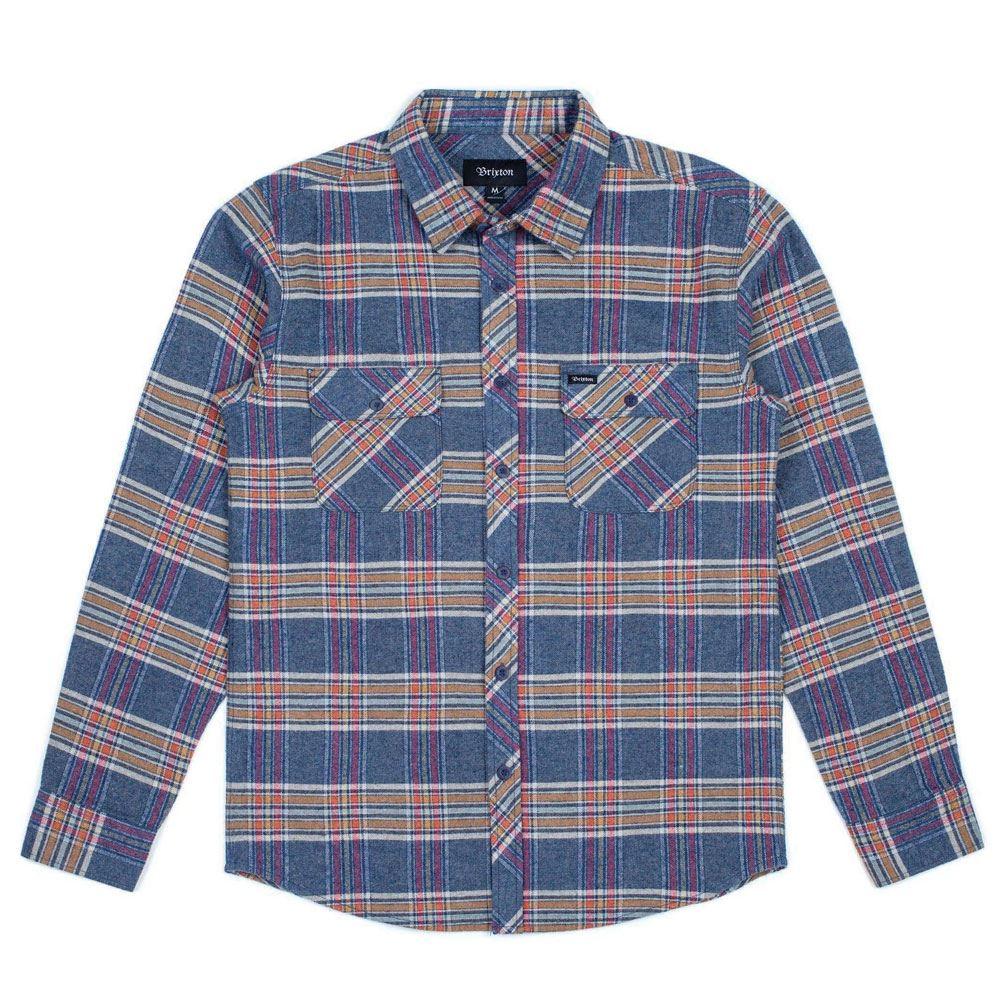 Brixton Bowery Manica Lunga Camicia Di Flanella blu e ardesia