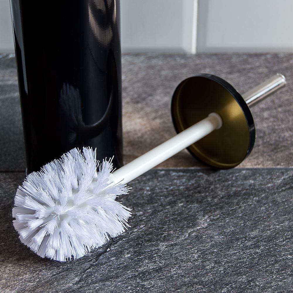 Toilet Brush Holder Stainless Steel Black White Plastic Cleaning Bathroom