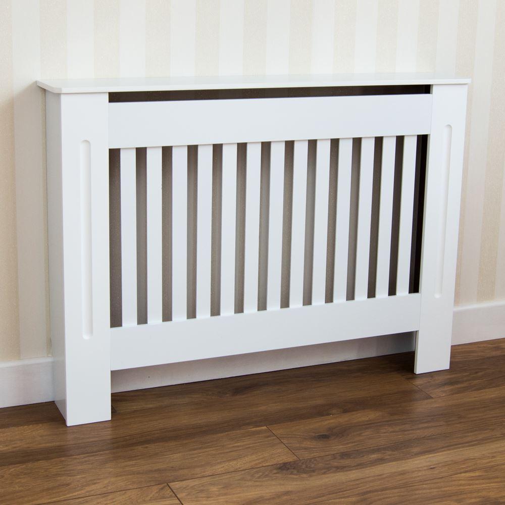 Chelsea couvre-radiateur en bois grill à lattes mdf meuble blanc tailles