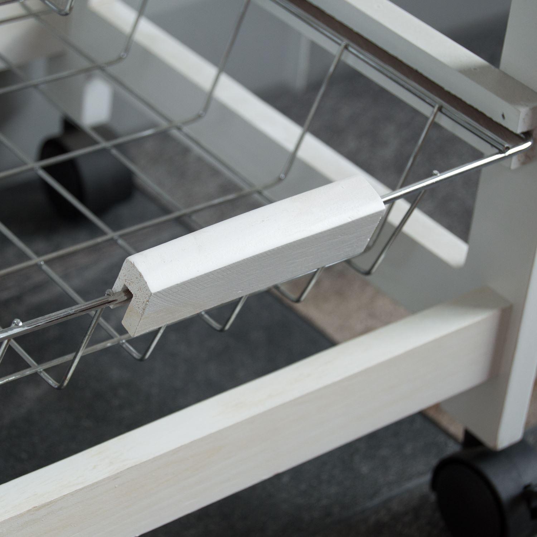 4 étages Chariot de Cuisine Panier Panier Tiroir de rangement bois portable Marron Blanc