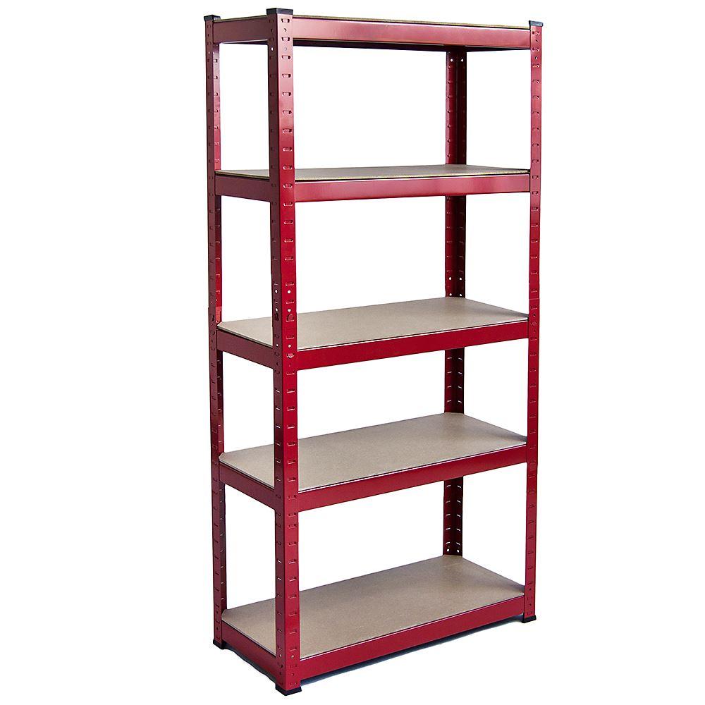 5 Tier Shelf Red Standard Large Warehouse DIY Garage Storage Rack Shelving Unit