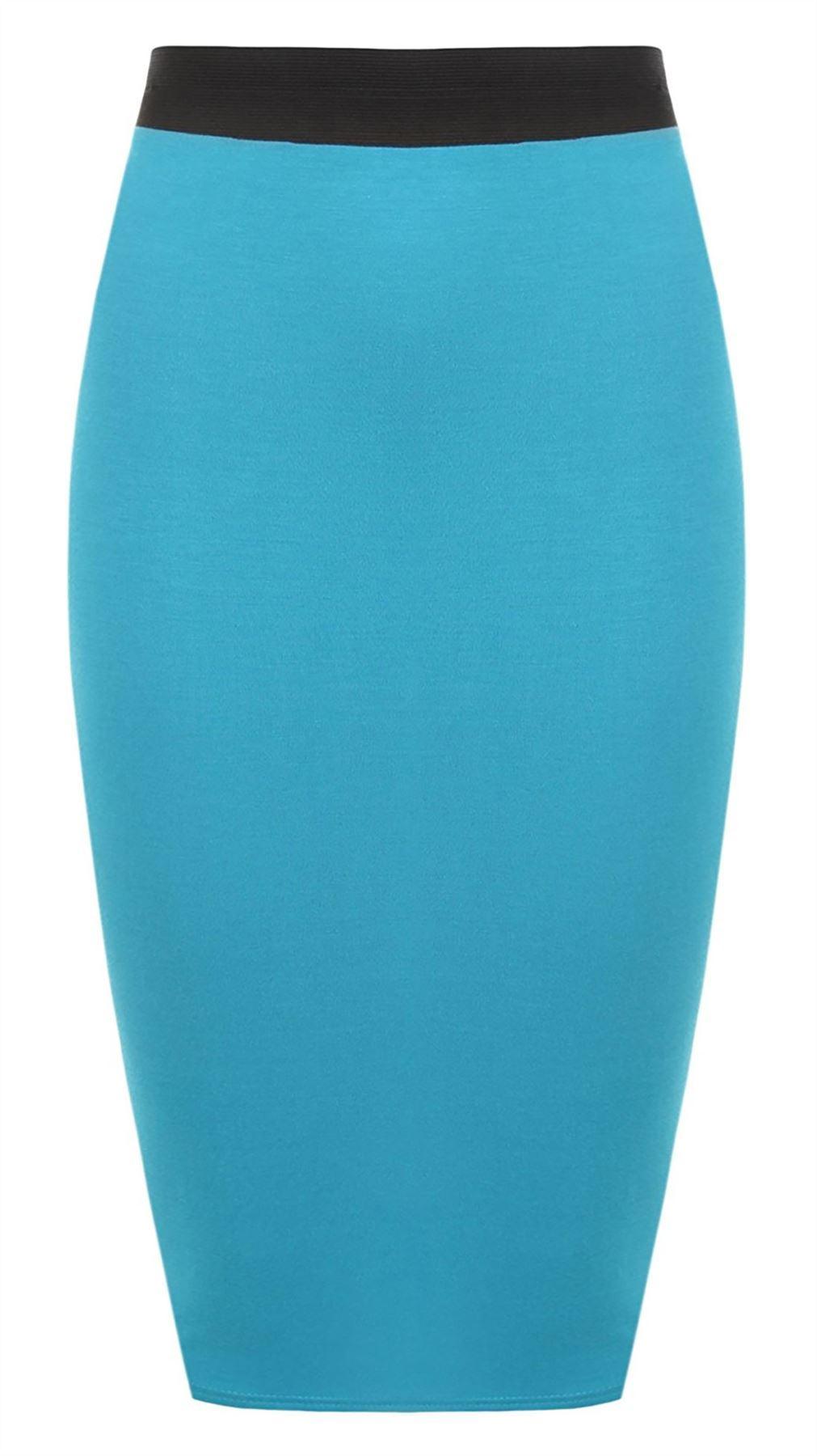 Femmes moulante Pencil Midi Skirt pour Femme de haute taille élastique Stretch Jupe