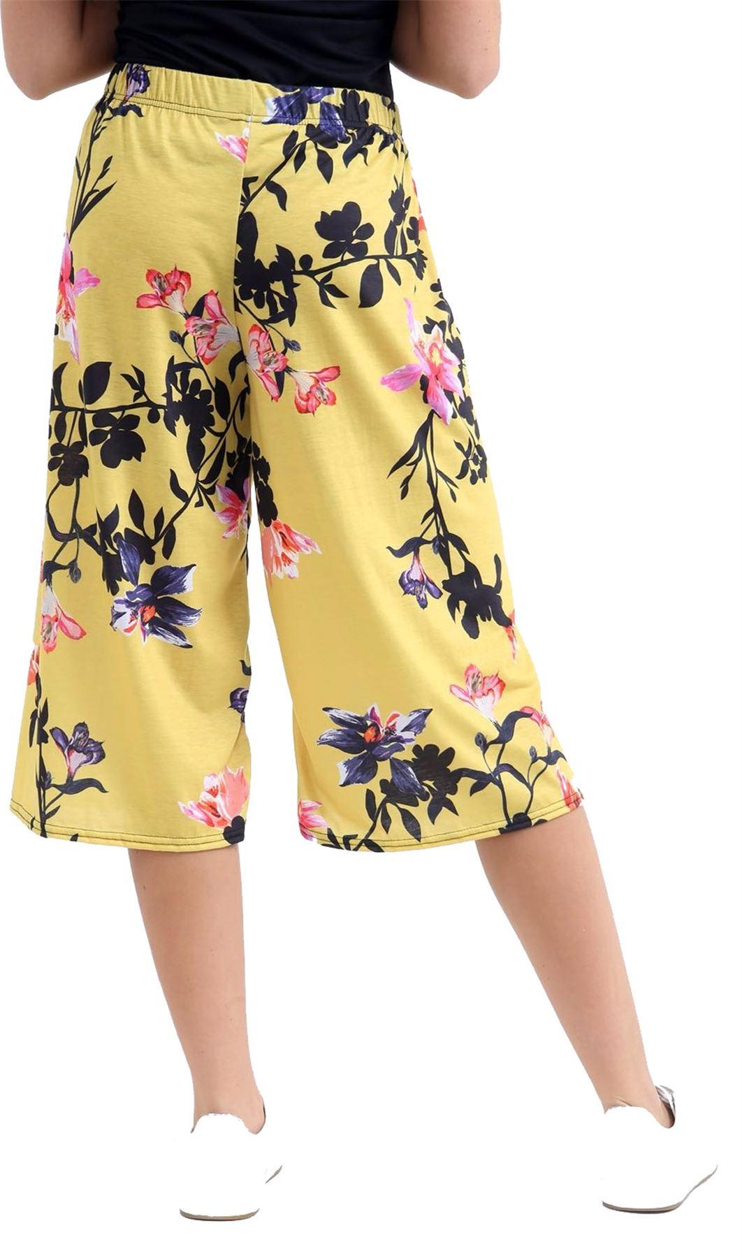 Ladies Floral Print 3//4 Palazzo Trouser Womens Wide Leg Culottes Short Pants