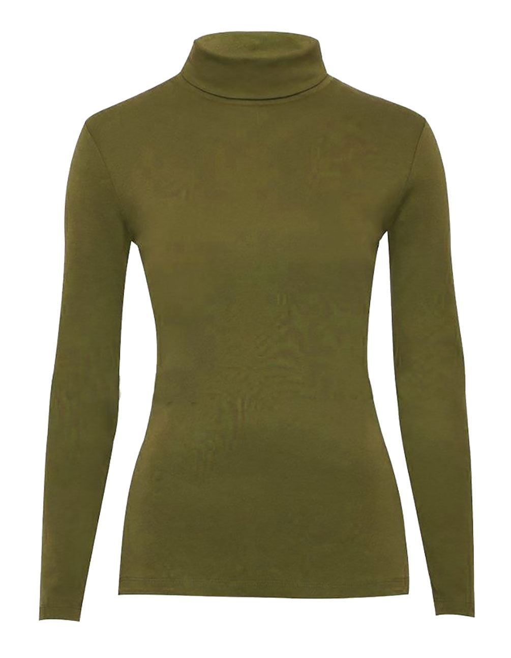 Ladies High Polo Turtle Neck Jumper Womens Plain Casual Novelty Stretch Jumper