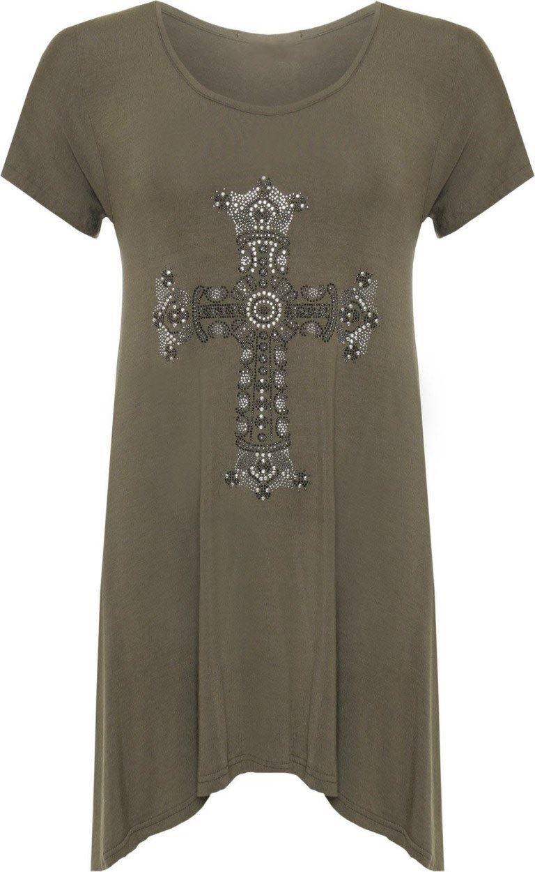 Womens Plus Diamante Cross Top Ladies Hanky Hem Short Sleeve Swing T-Shirt 14-28