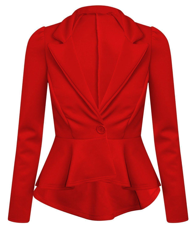 Ladies Crop Frill Shift Slim Fit Peplum Blazer Women Front One Button Jacket Top