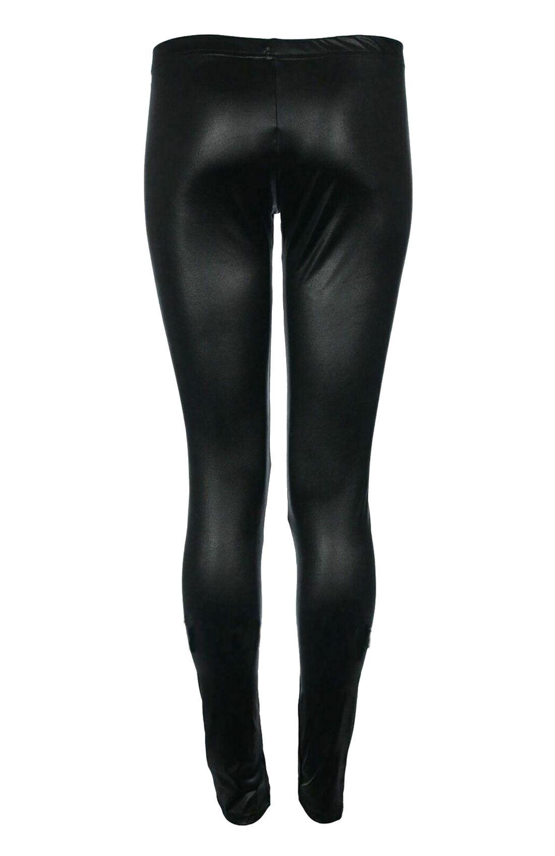 Chaussures Femme Taille Élastique Faux Cuir Noir Leggings Aspect Mouillé PVC Stretch Tight Pant