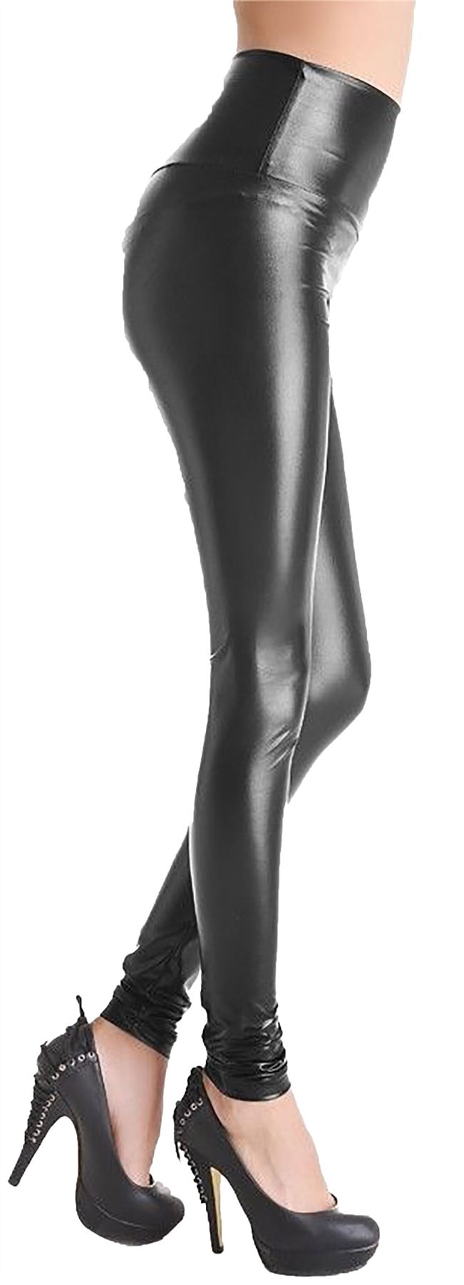 Ladies High Waist Wet Look Faux Leather Leggings Black Shiny Stretchy Tight Pant