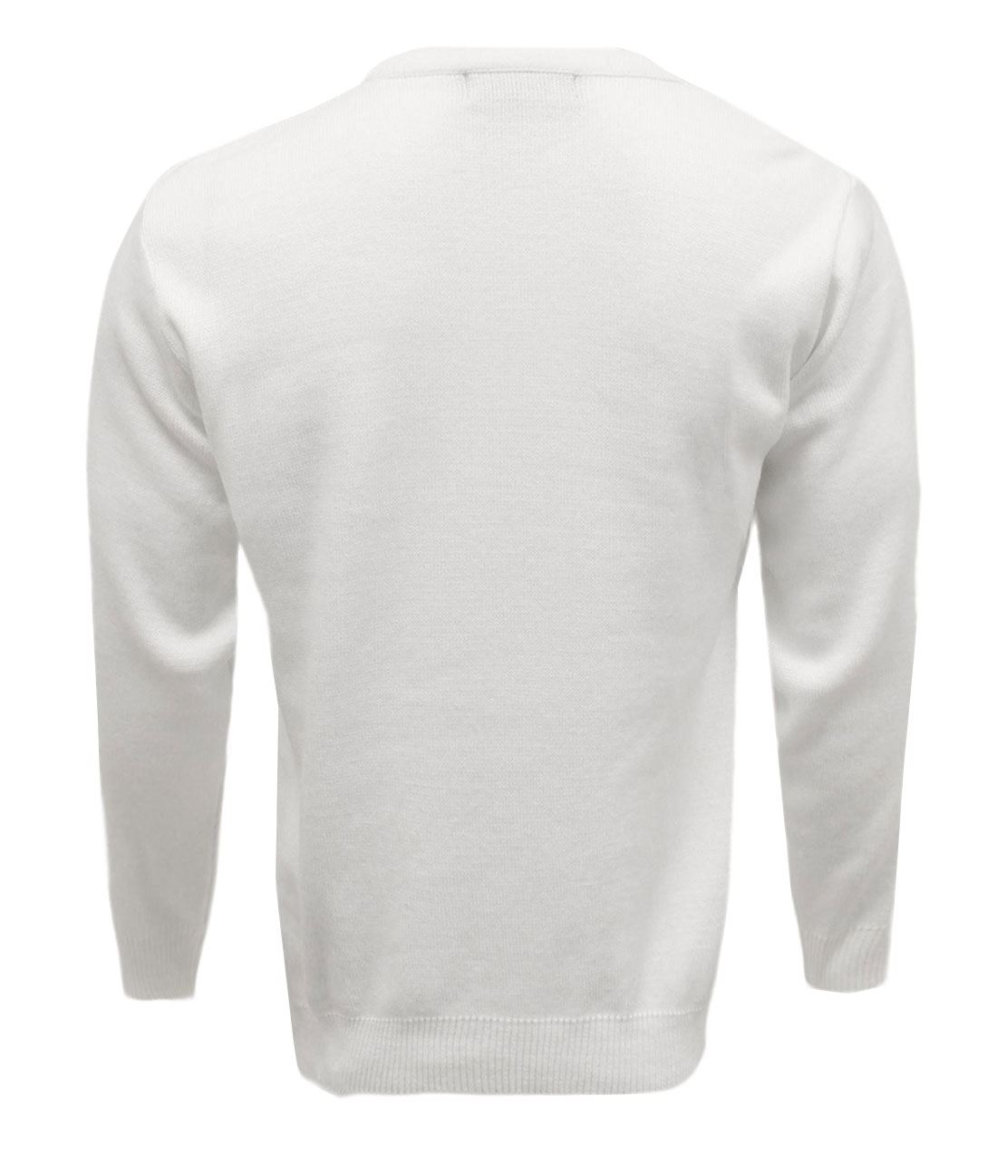 Mens V Neck Knitted Bowling 10G Jumper Top Adult Long Sleeves Winter Sweater Lot