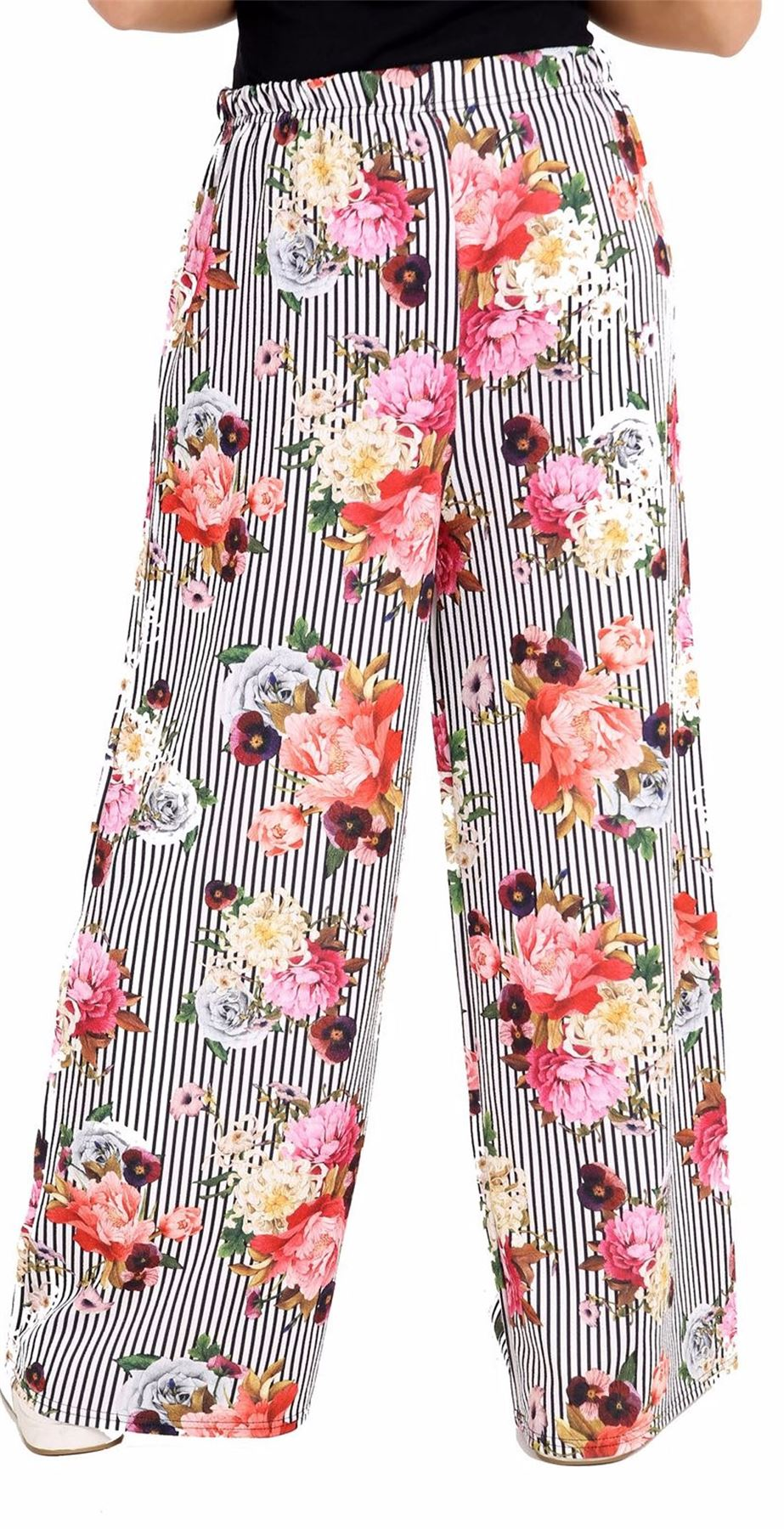 Ladies Wide Leg Multi Aztec Print Party Wear Trouser Womens Stretch Pant Palazzo