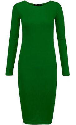 Femme à Manches Longues Près Du Corps Extensible Jersey Uni Midi Maxi Dress Plus Size