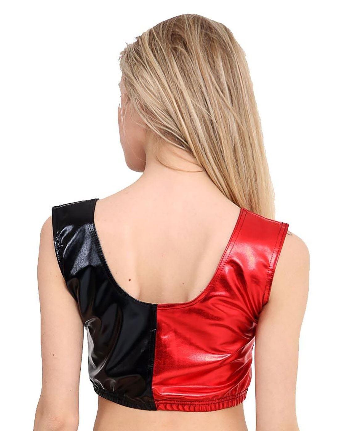 Ladies Black Red Shinny Legging Pant Women Fancy Party Wear Crop Top And Knicker