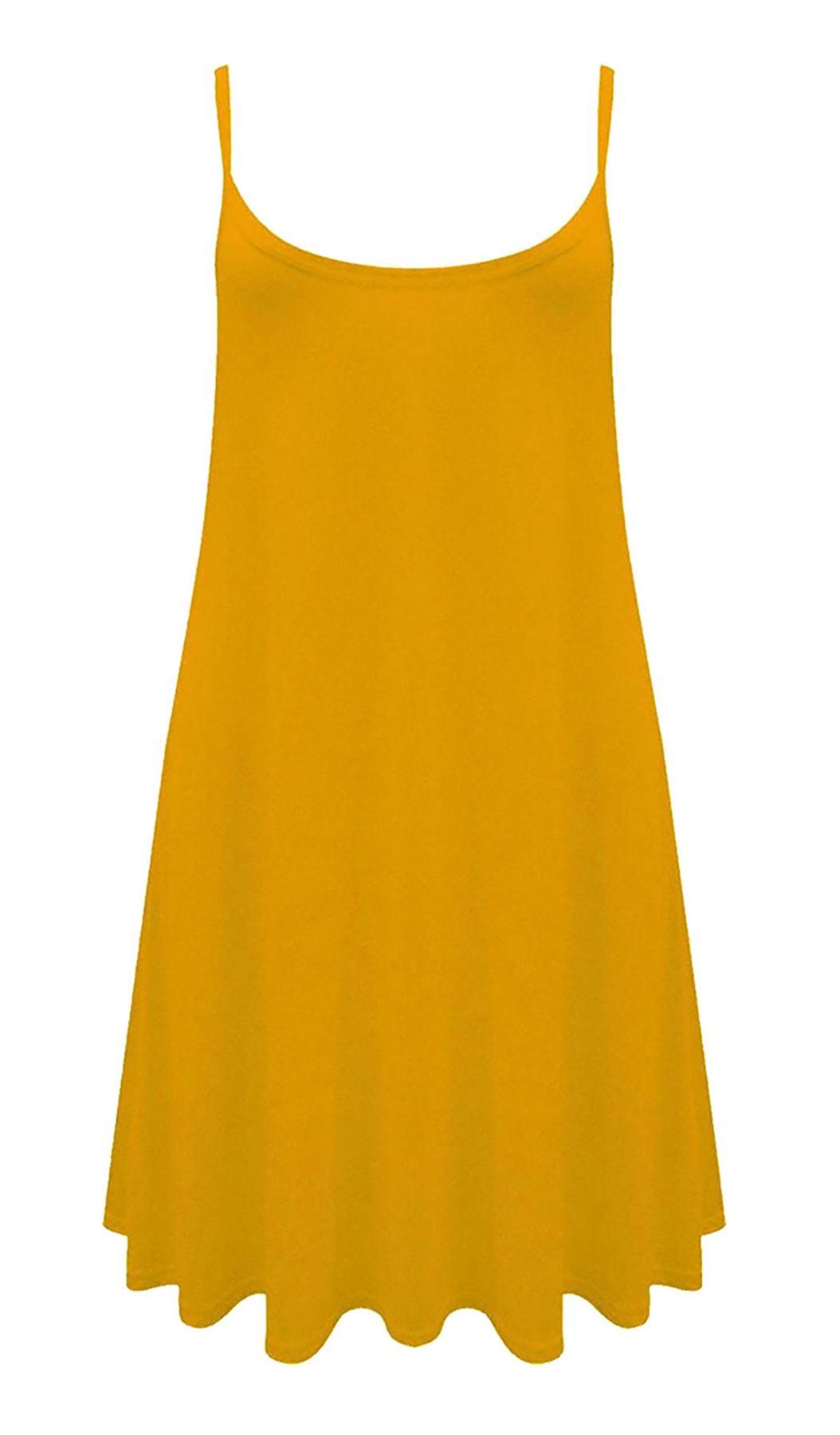 Ladies Strappy Plain Cami Swing Dress Women Sleeveles Printed Cami Long Vest Top